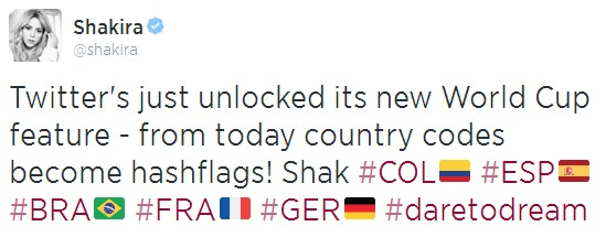 Shakira's tweet about Hashflags.